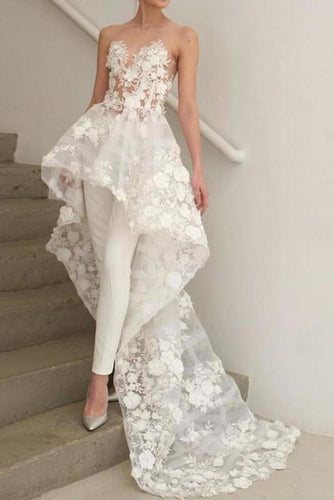 Strapless High Low Lace Appliques Ivory Beach Wedding Dresses Boho Wedding XHMPST14105
