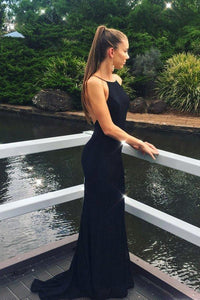Unique Black Mermaid Lace Appliques Backless Spaghetti Straps Long Prom XHMPST14319