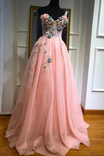 Unique One Shoulder Pink Prom Dresses Appliques Sweetheart Long Party XHMPST14353