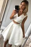 Simple Two Pieces V Neck Ivory Short Prom Dresses Knee Length Homecoming XHMPST13985