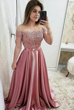 Load image into Gallery viewer, Chic Burgundy Off the Shoulder Floor Length Satin Lace Prom Dresses with Beads XHMPST14876