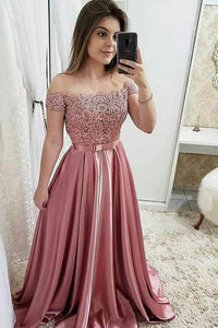 Chic Burgundy Off the Shoulder Floor Length Satin Lace Prom Dresses with Beads XHMPST14876