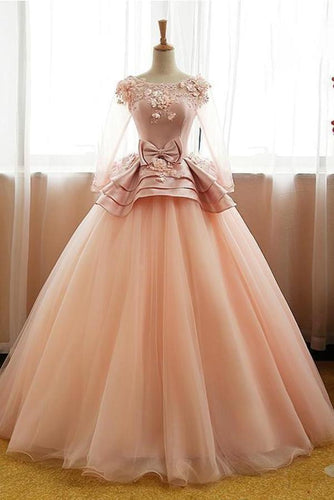Vintage Pink Flower Long Sleeves Puffy Tulle Long Quinceanera Dress Prom XHMPST14470