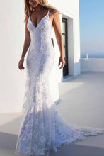 Load image into Gallery viewer, Sexy Backless Off White Mermaid Lace V Neck Wedding Dresses Long Prom XHMPST13522