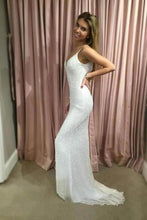 Load image into Gallery viewer, Sexy Mermaid Spaghetti Straps Sequins V Neck Prom Dresses Wedding XHMPST15666
