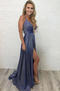 Unique High Slit Deep V Neck Sparkly Halter Prom Dresses Spaghetti Straps Formal Dresses XHMPST15458