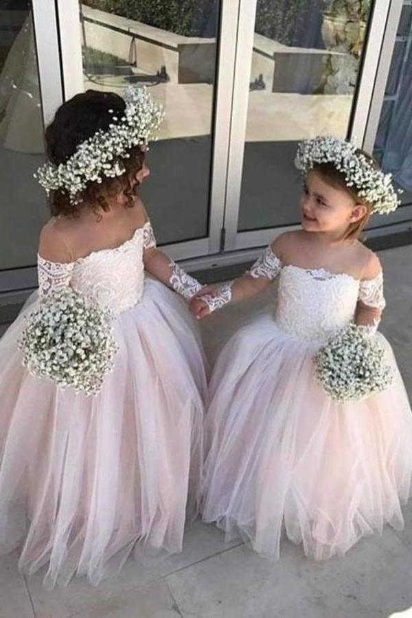 Cute Off the Shoulder Long Sleeve Pink Lace Appliques Tulle Flower Girl XHMPST11739