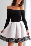 A Line Black and White Off the Shoulder Long Sleeve Short Homecoming Dresses with XHMPST10134