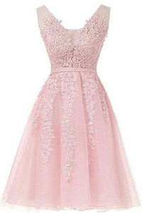 Short Dusty Rose Homecoming Dresses Lace Beads Tulle Appliqued Princess Hoco XHMPST13799