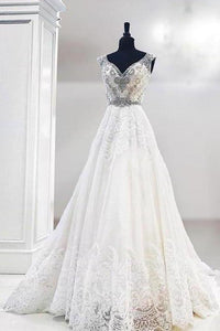 Unique V Neck Cap Sleeve Ivory Lace Beads Wedding Dresses Beach Wedding XHMPST14388