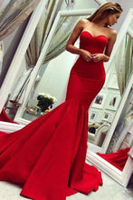 Load image into Gallery viewer, Sexy Red Sweetheart Mermaid Prom Dresses Strapless Sweetheart Evening Dresses XHMPST15348