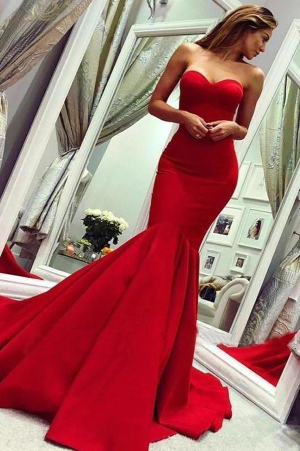 Sexy Red Sweetheart Mermaid Prom Dresses Strapless Sweetheart Evening Dresses XHMPST15348