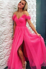Load image into Gallery viewer, A Line Off the Shoulder Hot Pink Tulle Prom Dresses with Split Long Formal Dresses XHMPST15493