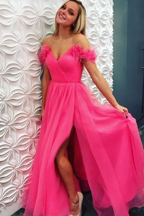 A Line Off the Shoulder Hot Pink Tulle Prom Dresses with Split Long Formal Dresses XHMPST15493