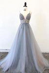 Gorgeous A Line Spaghetti Straps V Neck Beads Prom Dresses with XHMPST20420