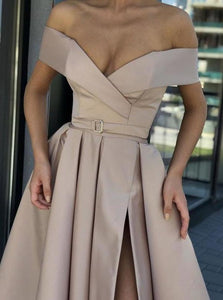 A Line Off the Shoulder V Neck Satin Prom Dresses with High Split Party Dresses XHMPST14821