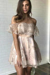 Sexy Off the Shoulder Lace Appliques Homecoming Dresses Short Prom XHMPST13645