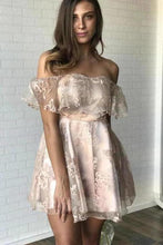 Load image into Gallery viewer, Sexy Off the Shoulder Lace Appliques Homecoming Dresses Short Prom XHMPST13645