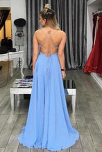 Load image into Gallery viewer, Simple A-Line Spaghetti Straps Blue V-Neck Backless Long Slit Backless Chiffon Prom XHMPST13867