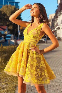 Vintage Yellow Lace Appliques V Neck Short Party Dress Above Knee Homecoming XHMPST14479
