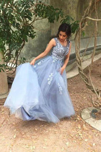 Unique Blue Tulle Appliques Beading Prom Dresses Charming Formal Dresses XHMPST15456