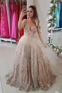 Spaghetti Straps Floral Embroidery Sweetheart Prom Dresses Long Formal XHMPST14035