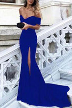 Load image into Gallery viewer, Sexy Leg Slit Long Mermaid Off-the-Shoulder Black Sweetheart Strapless Prom Dresses XHMPST14673