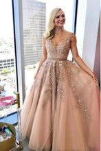Load image into Gallery viewer, Charming A Line V Neck Beads Tulle Prom Dresses with Appliques Floor Length Formal Dresses XHMPST15092