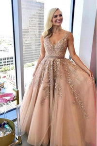 Charming A Line V Neck Beads Tulle Prom Dresses with Appliques Floor Length Formal Dresses XHMPST15092