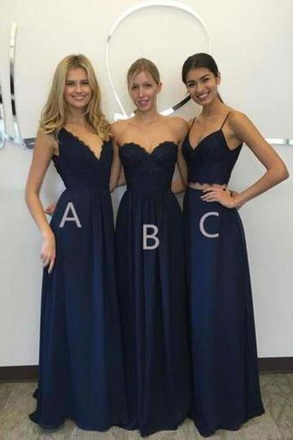Unique Long Wedding Bridesmaid Dresses Blue A-Line Dresses for XHMPST14341