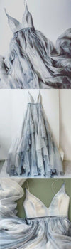Long Spaghetti Straps Simple V Neck Tulle cheap Pretty Party Prom Dresses Bridal XHMPST12693