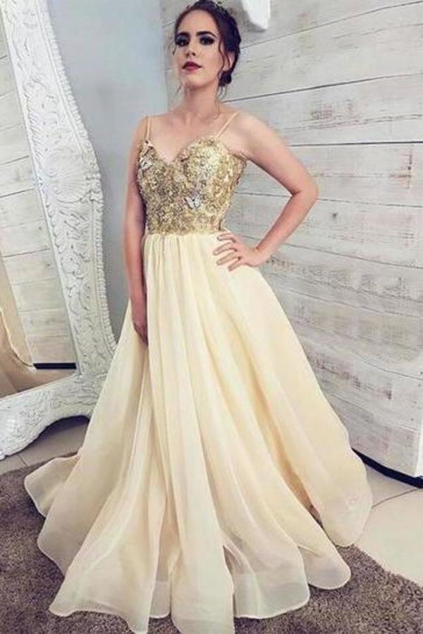 Princess Tulle Champagne Spaghetti Straps Sweetheart Prom Dress Cheap Formal Dresses XHMPST15310