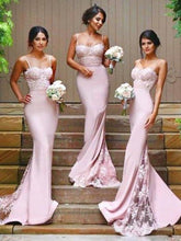 Load image into Gallery viewer, Stylish Mermaid Spaghetti Straps Satin Long Pink Bridesmaid Dresses with Lace XHMPST14151