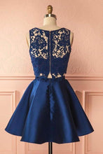 Load image into Gallery viewer, Two Piece Dark Blue Satin Cute Short A-Line Homecoming Dress with Lace XHMPST14231