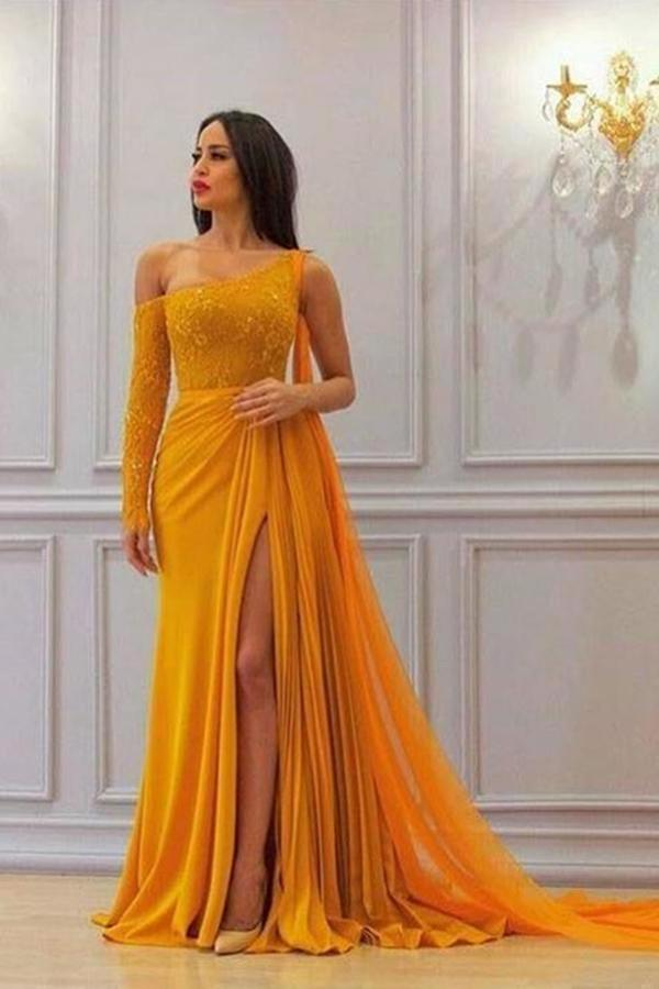 A Line Yellow One Long Sleeve Chiffon Prom Dresses High Slit Formal XHMPST10744
