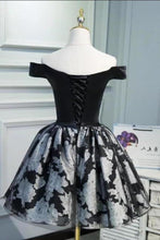 Load image into Gallery viewer, Black Satin Off the Shoulder Cute Homecoming Dresses Short Prom Dress Hoco Gowns XHMPST14967