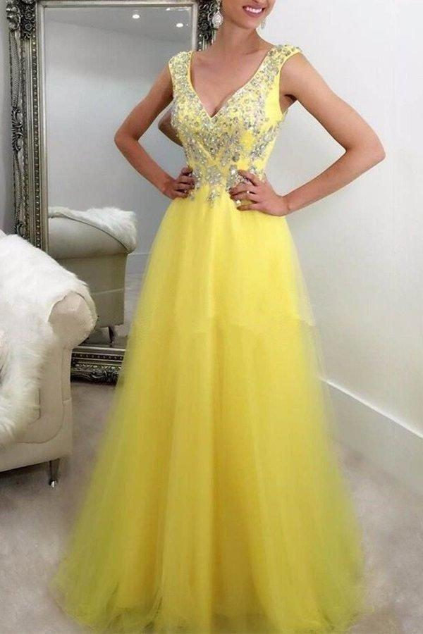 Yellow tulle sequins beading v-neck graduation dress XHMPST14552