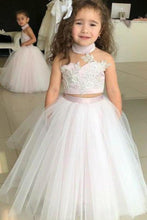 Load image into Gallery viewer, Simple Two Piece Ball Gown Halter Blush Pink Flower Girl Dresses with Appliques XHMPST14954