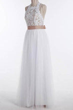 Load image into Gallery viewer, Simple A-Line White Open Back Jewel Sleeveless Floor-Length Lace Top Halter Wedding XHMPST13875