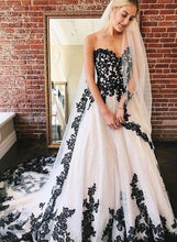 Load image into Gallery viewer, A Line Sweetheart Strapless White Tulle Black Lace Appliques Formal Prom Dresses XHMPST15558