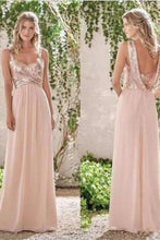 Load image into Gallery viewer, Rose Gold A-Line Spaghetti Straps Backless Sequins Chiffon Bridesmaid XHMPST13395