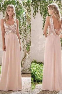 Rose Gold A-Line Spaghetti Straps Backless Sequins Chiffon Bridesmaid XHMPST13395