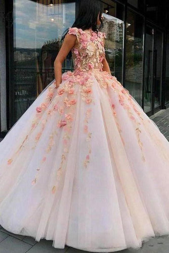 Princess Ball Gown Pink Tulle Prom Dresses with Handmade Flowers Quinceanera XHMPST15658
