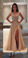 Load image into Gallery viewer, A line Tulle V Neck Pink Prom Dresses Long Backless Evening Dresses XHMPST14845