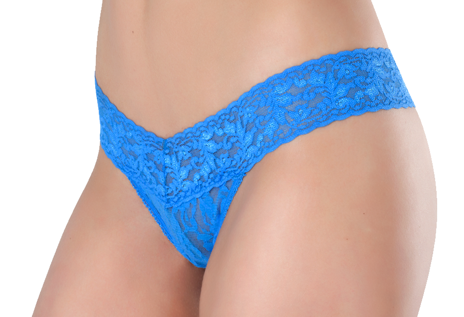 Petite Lace Thong  - Denim Delight