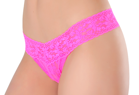 Lace Thong  - Poppy Pink