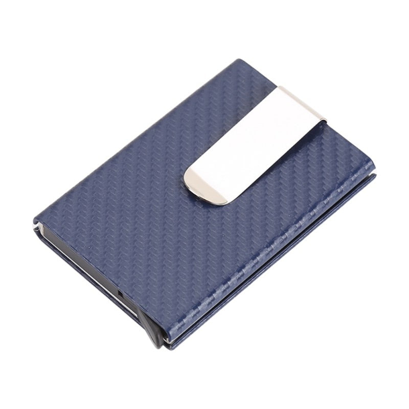 Business Aluminum Wallet Automatic Slide Card Case Carbon Fiber PU Leather Metal ID Credit Card Holder Clip