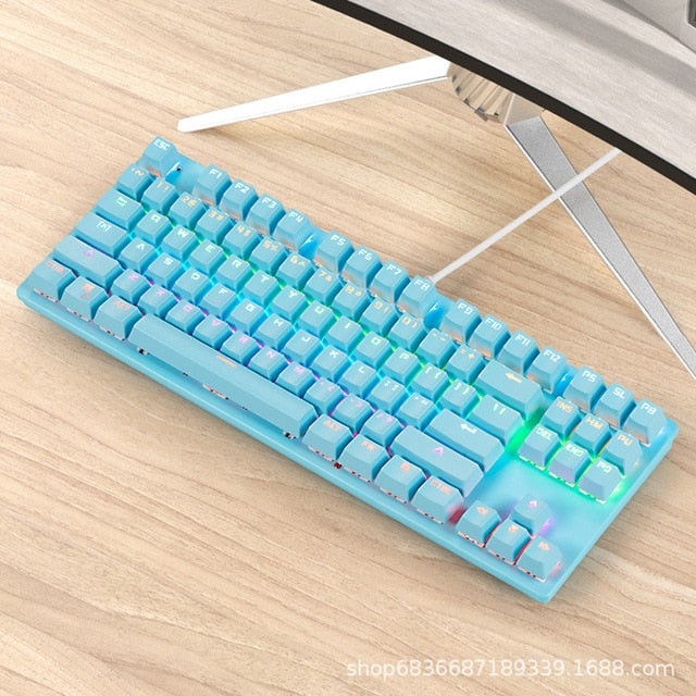 Gaming Mechanical Keyboard Game Anti-ghosting  RGB Mix Backlit Blue Switch 87key teclado mecanico For Game Laptop PC