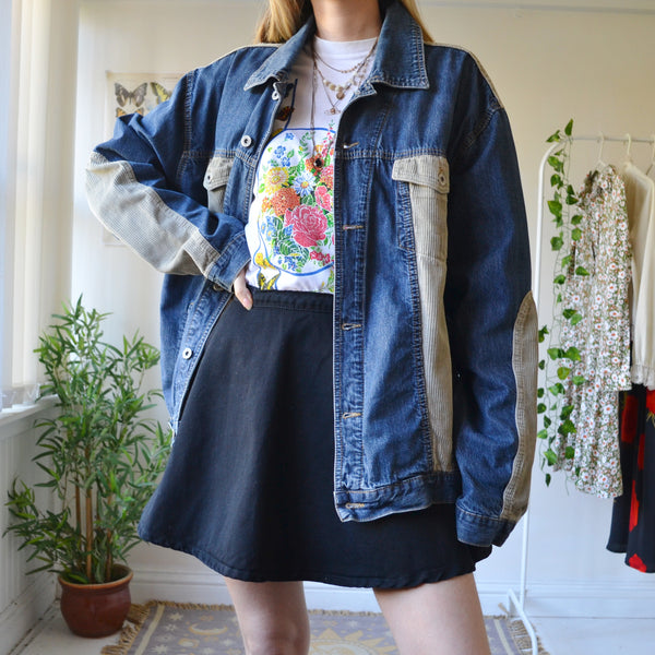 Cord patchwork denim jacket