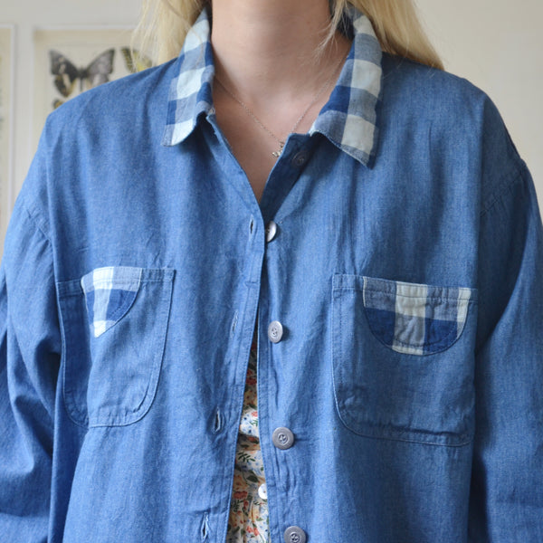 Gingham denim shirt